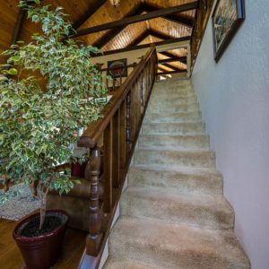 How to Find a Realtor, interior picture of foyer, carpeted stairs, browns and greens